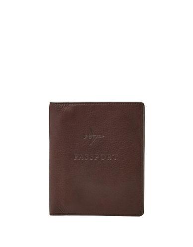 Fossil Leather RFID Passport Case-DARK BROWN-One Size