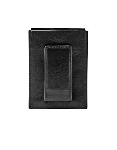 Fossil Ingram Leather Card Case-BLACK-One Size