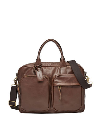 Fossil Defender Double Zip Workbag-BROWN-One Size