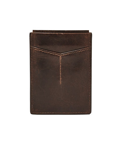 Fossil Derrick Leather Card Case-DARK BROWN-One Size