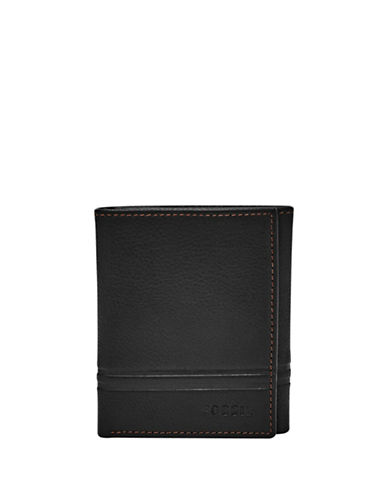 Fossil Watts Leather Trifold Wallet-BLACK-One Size