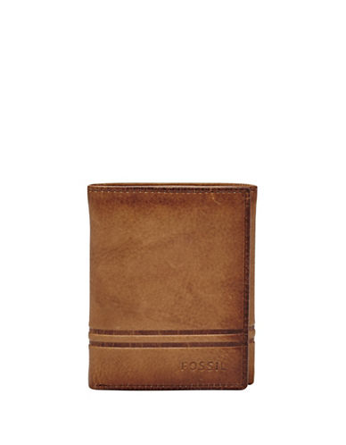 Fossil Watts Leather Trifold Wallet-COGNAC-One Size