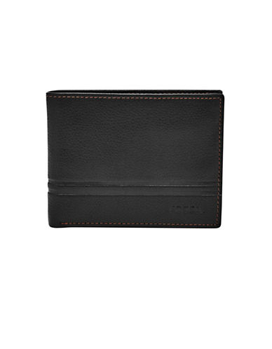 Fossil Watts Leather Bifold Flip ID Wallet-BLACK-One Size