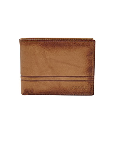 Fossil Watts Leather Bifold Flip ID Wallet-COGNAC-One Size