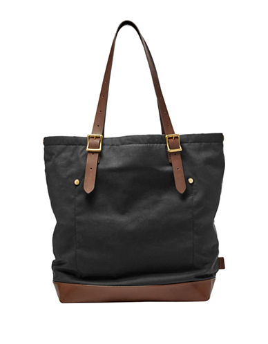 Fossil Defender Waxed Canvas Tote-BLACK-One Size 88837478_BLACK_One Size