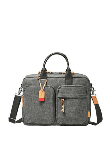 Fossil Defender Top Zip Workbag-GREY-One Size