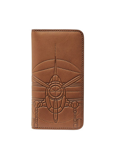 Fossil Plane Leather Phone Wallet-BROWN-One Size