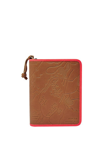 Fossil RFID Leather Passport Case-BROWN-One Size