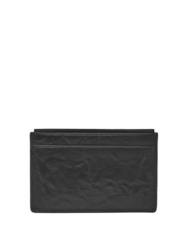 Fossil Neel Leather Cardholder-BLACK-One Size