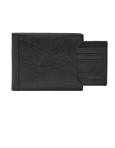 Fossil Neel Sliding Leather Bi-Fold Wallet-BLACK-One Size