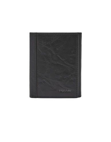 Fossil Neel Trifold Leather Wallet-BLACK-One Size