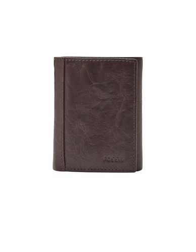 Fossil Neel Trifold Leather Wallet-BROWN-One Size