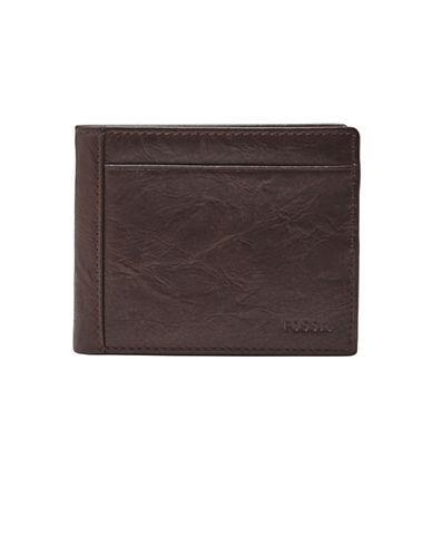 Fossil Neel Flip ID Leather Bi-Fold Wallet-BROWN-One Size