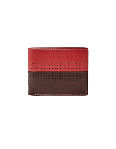 Fossil Cody Flip ID Bifold Leather Wallet-RED-One Size