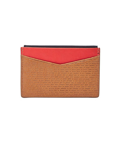Fossil Andy Leather Card Case-COGNAC-One Size