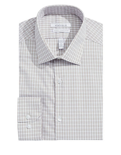 Perry Ellis Non-Iron Slim Check Dress Shirt-CANVAS-15.5-32/33