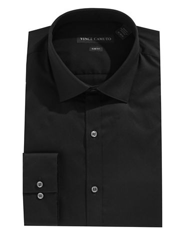 Vince Camuto Slim-Fit Long Sleeve Solid Shirt-BLACK-17.5-32/33