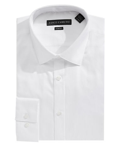 Vince Camuto Slim-Fit Long Sleeve Solid Shirt-WHITE-17.5-34/35