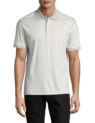 Black Brown 1826 Striped Interlock Cotton Polo-GREY-Large