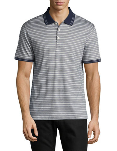 Black Brown 1826 Striped Interlock Cotton Polo-BLUE-X-Large