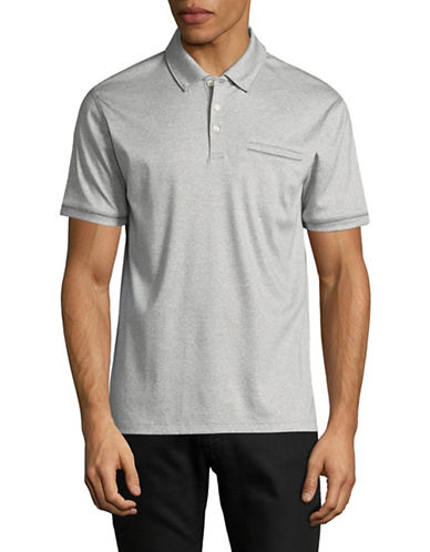 Black Brown 1826 End on End Cotton Polo-SILVER-Medium