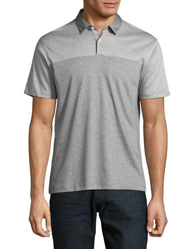 Black Brown 1826 Placed Stripe Interlock Cotton Polo-GREY-XX-Large