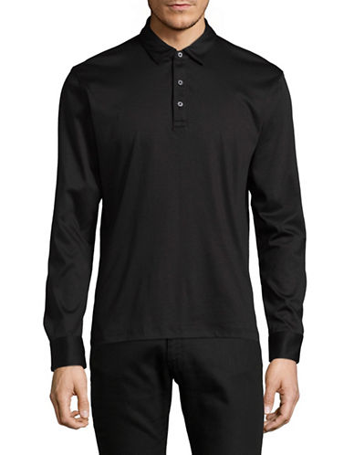 Black Brown 1826 Liquid Cotton Polo-BLACK-Large