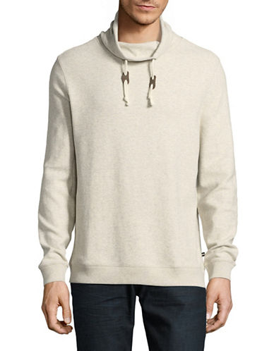 Black Brown 1826 Funnel Neck Cotton Pullover-GREY-Medium