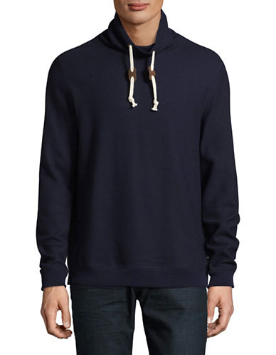 Black Brown 1826 Funnel Neck Cotton Pullover-BLUE-X-Large
