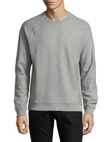Black Brown 1826 Raglan Crew Neck Cotton Sweater-SILVER-X-Large
