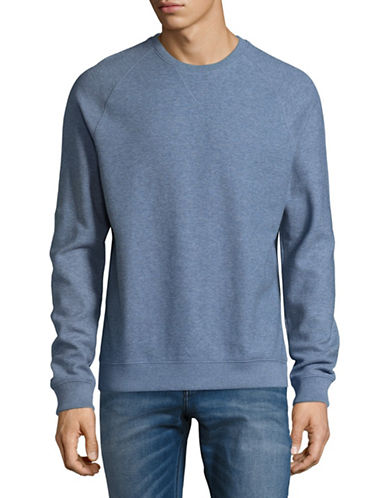 Black Brown 1826 Raglan Crewneck Cotton Sweater-LIGHT BLUE-X-Large