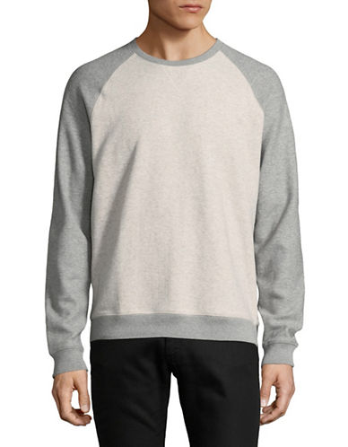 Black Brown 1826 Raglan Crewneck Cotton Sweater-GREY-Small