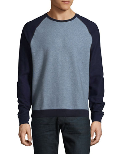 Black Brown 1826 Raglan Crewneck Cotton Sweater-BLUE-Large