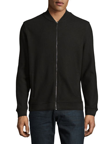 Black Brown 1826 Jacquard Baseball Cotton Bomber Jacket-BLACK-Small