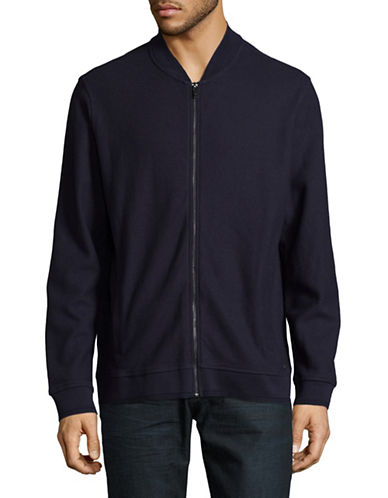 Black Brown 1826 Jacquard Baseball Cotton Bomber Jacket-BLUE-Small
