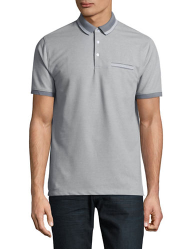 Black Brown 1826 Birdseye Short Sleeve Polo-GREY-XX-Large