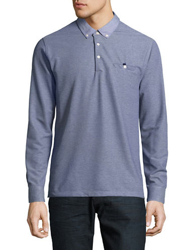Black Brown 1826 Birdseye Long Sleeve Polo-BLUE-XXX-Large