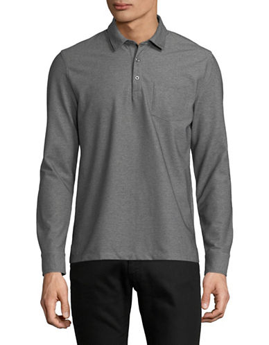 Black Brown 1826 Oxford Birdseye Pique Cotton Polo-GREY-Medium