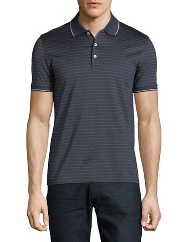 Black Brown 1826 Jacquard Striped Cotton Polo-GREY-Medium