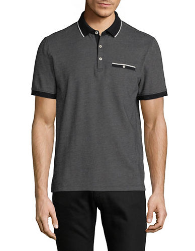 Black Brown 1826 Twill Jacquard Cotton Polo-GREY-Medium