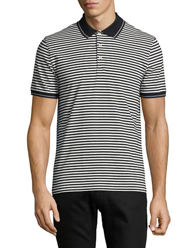 Black Brown 1826 Short-Sleeve Striped Polo-GREY-X-Large