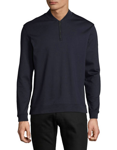 Black Brown 1826 Quarter-Zip Cotton Sweater-BLUE-XX-Large