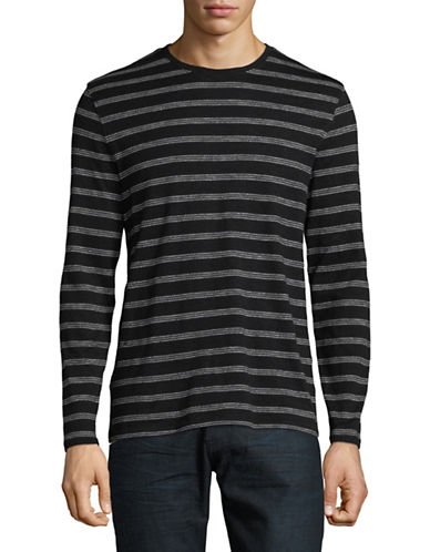 Black Brown 1826 Striped Cotton T-Shirt-GREY-X-Large