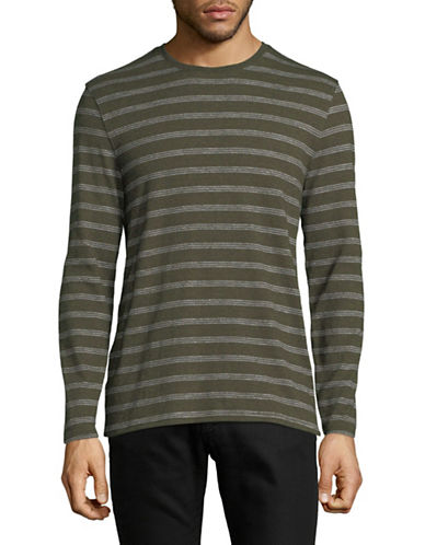 Black Brown 1826 Striped Cotton T-Shirt-GREEN-Small