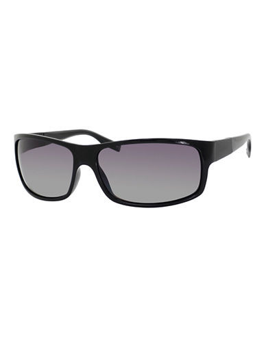 Boss Rectangle Frame Sunglasses-SHINY BLACK-One Size