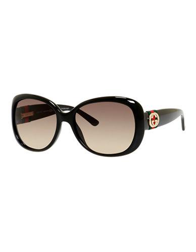 Gucci GG3644 / S Oval Modified Sunglasses-SHINY BLACK-One Size