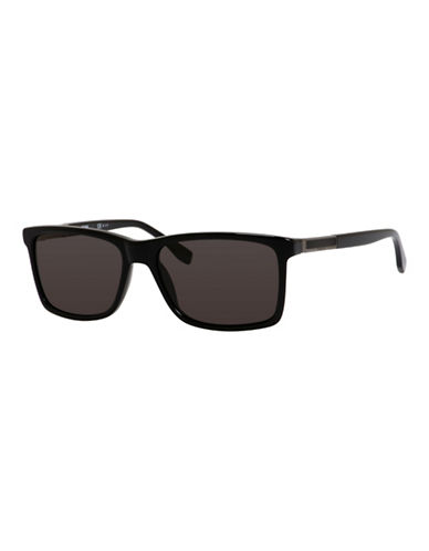 Boss 57mm Plastic Tortoiseshell Wayfarer Sunglasses-BLACK-One Size