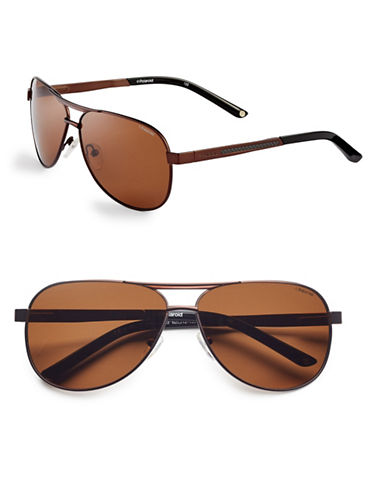 Polaroid 62mm Polarized Aviator Sunglasses-BROWN-One Size