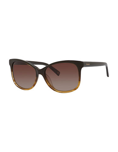 Polaroid 57mm Striped Wayfarer Sunglasses-BROWN-One Size