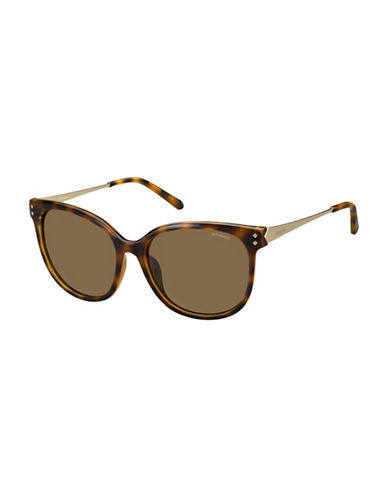 Polaroid PLD4048S 56mm Rectangle Sunglasses-BROWN-One Size